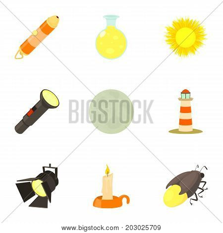 Light and lighting icons set. Cartoon set of 9 light and lighting vector icons for web isolated on white background
