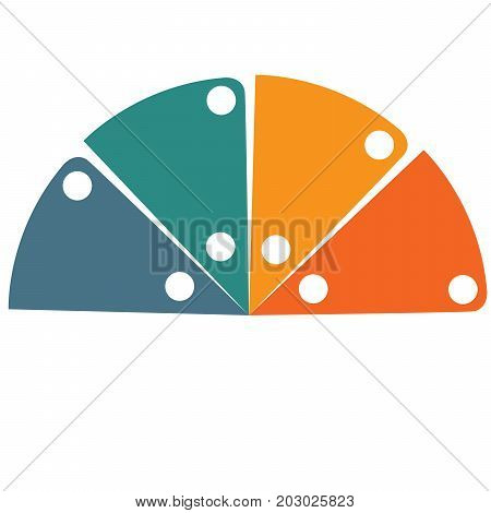 Flat template infographic color semicircle for 4 positions
