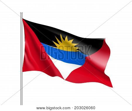 Waving flag of Antigua Barbuda. Illustration of North America country flag on flagpole. 3d vector icon isolated on white background