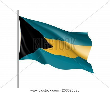 Waving flag of Bahamas. Illustration of North America country flag on flagpole. 3d vector icon isolated on white background