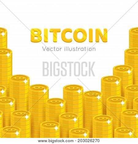 Bitcoin rising stacks. Crypto currency market and digital payment system, increasing money amount. Cartoon vector illustration on white background