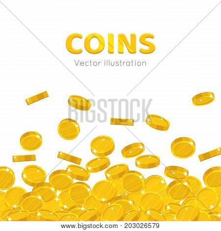 Raingold coins cartoon background. A rain of the flying gold of coins frame in a cartoon style. Falling gold pieces in the form of vector illustrations
