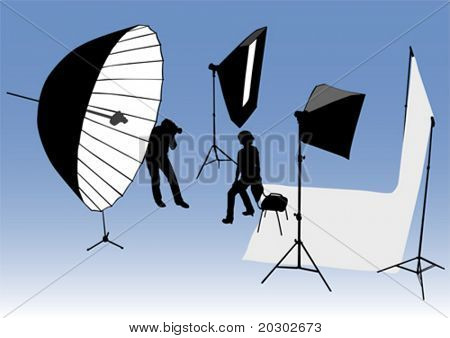 Vector drawing studio, and photographic equipment. Photographer and model