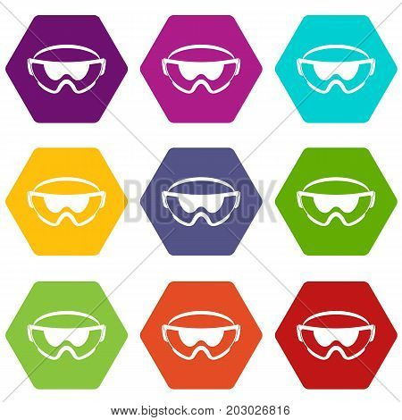 Safety glasses icon set many color hexahedron isolated on white vector illustration