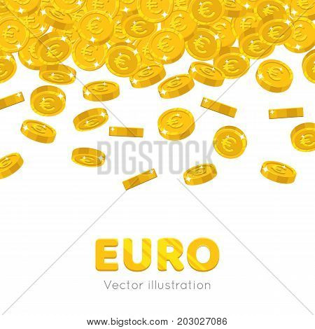 Raingold euro cartoon frame. A rain of the flying gold of euro in the form of a frame in a cartoon style. Falling gold pieces in the form of vector illustrations
