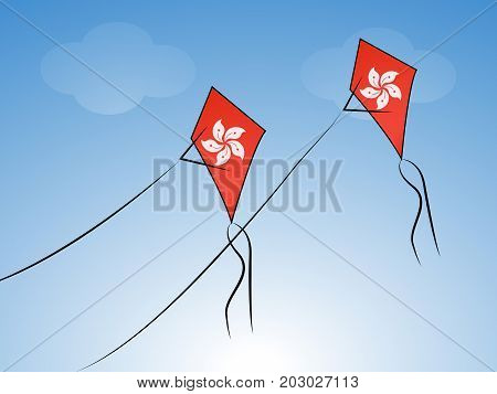 illustration of kites in China flag background on the occasion of China National Day