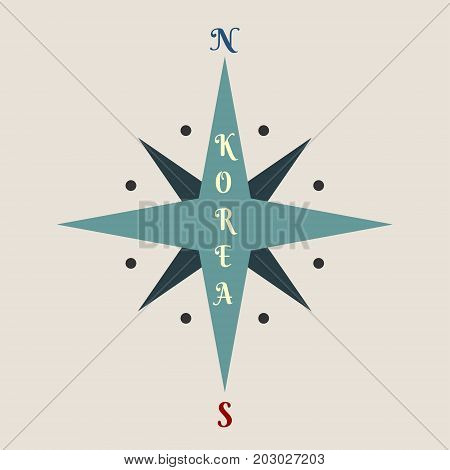 Vintage compass symbol with Korea text. Image relative to politic situation between South Korea and North Korea.