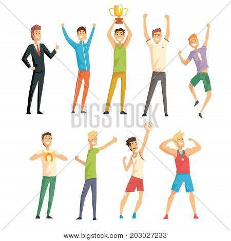 Young successful men in casual and sportswear enjoying their luck set vector Illustrations on a white background