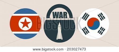 Image relative to politic situation between South Korea and North Korea. National flags on clouds divided by lock with war text and missile icon as keyhole