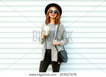 Fashion Portrait Smiling Woman With Coffee Cup On White Background