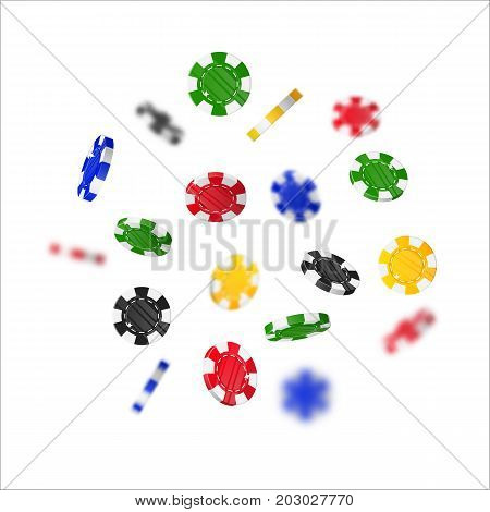 Chips multi-colored flying cartoon isolated. Casino chips with the effect flying in the air in a cartoon style for designers and illustrators. Floating stakes in the form of vector illustrations
