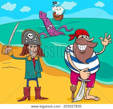Pirates On Island Cartoon Illustration