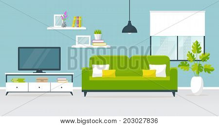Vector banner with modern interior of the living room. Design of a cozy room with sofa TV stand ceiling hanging light window and decor accessories. Vector illustration.
