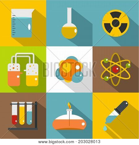Chemistry icon set. Flat style set of 9 chemistry vector icons for web design