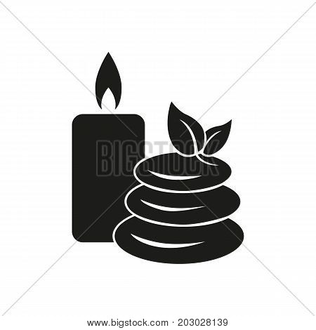 Simple icon of candle and pebbles. Spa, lastone therapy, massage. Hotel concept. Can be used for topics like health, beauty, alternative medicine