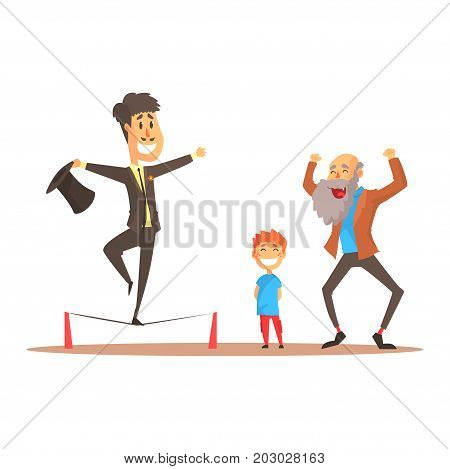 Tightrope walker performing before happy people, circus or street actor colorful cartoon detailed vector Illustration on a white background
