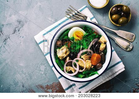 Nicoise Salad. Healthy brunch. Top view, space for text