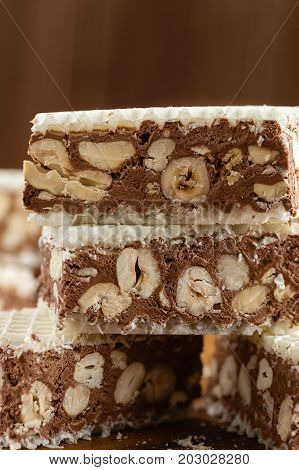 Homemade Chocolate Nougat With Nuts