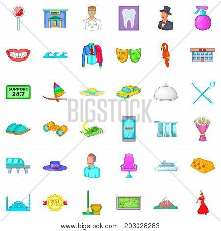Dancer icons set. Cartoon style of 36 dancer vector icons for web isolated on white background