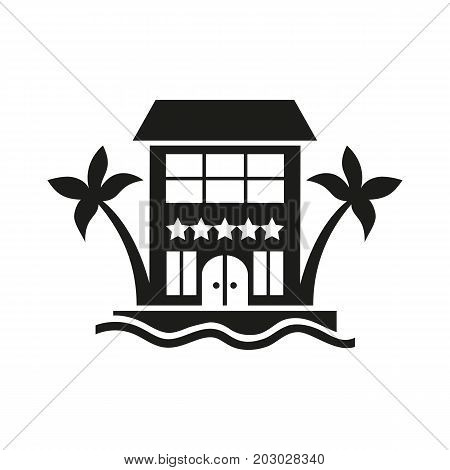 Simple icon of five-star hotel. Summer resort, tropical resort, vacation. Hotel concept. Can be used for topics like travel, tourism, service industry