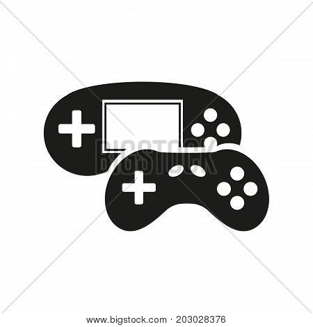 Simple icon of game console and joystick. Gaming, video game, leisure. Smart technology concept. Can be used for topics like technology, hobby, entertainment