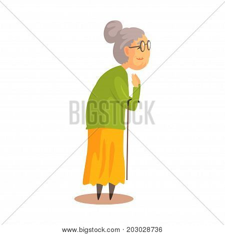 Old woman with walking stick standing and applauding colorful cartoon detailed vector Illustration on a white background