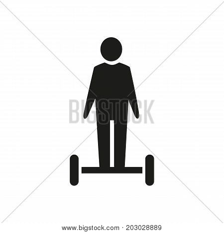 Simple icon of man standing on gyroscooter. Hover board, modern device, transportation. Smart technology concept. Can be used for topics like technology, hobby, entertainment