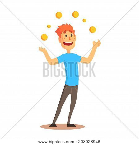 Young man character juggling with orange balls, circus or street actor colorful cartoon detailed vector Illustration on a white background