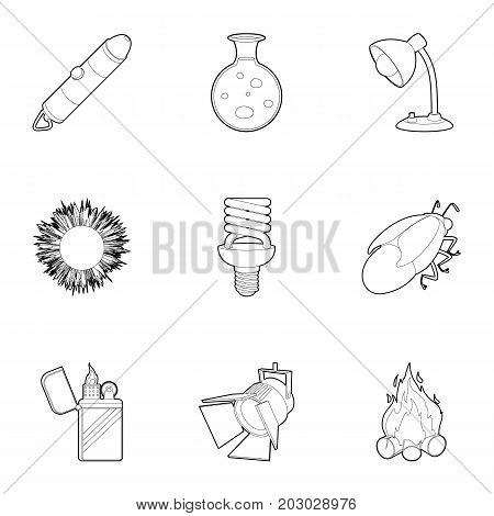 Light and lighting icons set. Outline set of 9 light and lighting vector icons for web isolated on white background