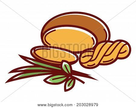 Suluguni round and in thick pigtail with fresh leek and aromatic oregano leaves isolated cartoon flat vector illustration on white background. Salty soft tasty cheese and small tuft of greenery.
