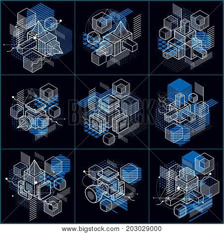 Isometric abstract backgrounds with linear dimensional shapes vector 3d mesh elements. Compositions of cubes hexagons squares rectangles and different abstract elements. Vector collection.