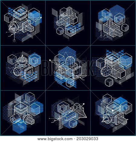 Isometric linear abstract vector backgrounds lined abstractions. Cubes hexagons squares rectangles and different abstract elements. Vector set.