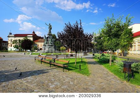 Monument and buildings of the Reconciliation Park of Arad, Romania, Europe