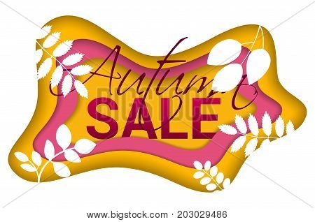 Fashionable Autumn Sale banner on the melted colorful background for advertising, posters, flyers, web. Cut paper art style vector illustration.