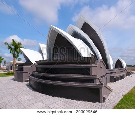 Long An, Vietnam - September 3rd, 2017: Architectural model Sydney Opera is the architectural wonder of the world built in the tourist resort to attract visitors in Long An, Vietnam