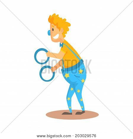 Funny clown juggling with rings, circus or street actor colorful cartoon detailed vector Illustration on a white background