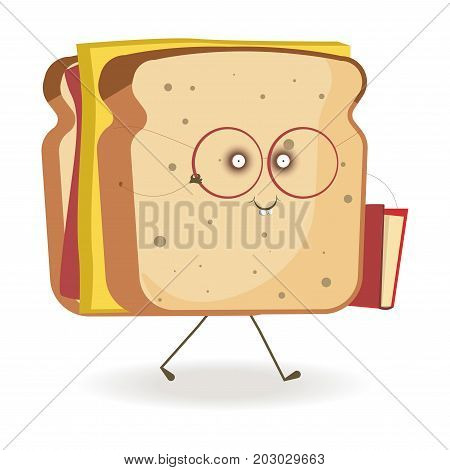 Cheerful sandwich with square cheese slice in round eyesight glasses with book in red cover isolated cartoon vector illustration on white background. Morning snack with funny face and thin limbs.