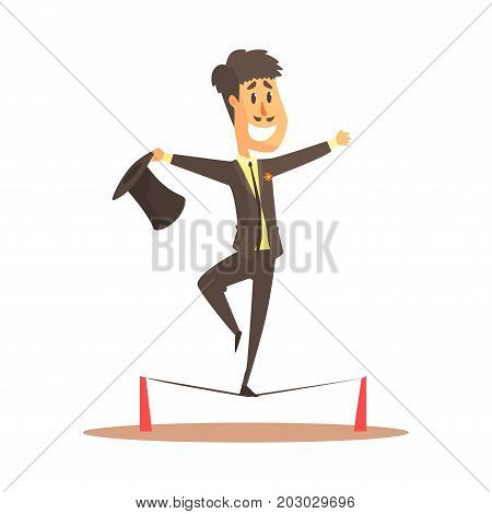 Tightrope walker balancing on the wire, circus or street actor colorful cartoon detailed vector Illustration on a white background