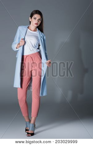 Lady In Blue Trench