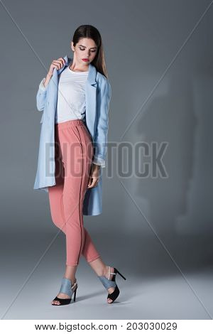 Fashionable Girl In Blue Trench