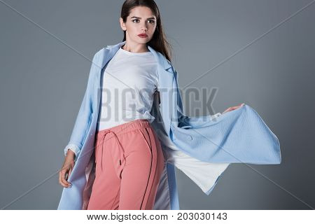 Model In Blue Trench