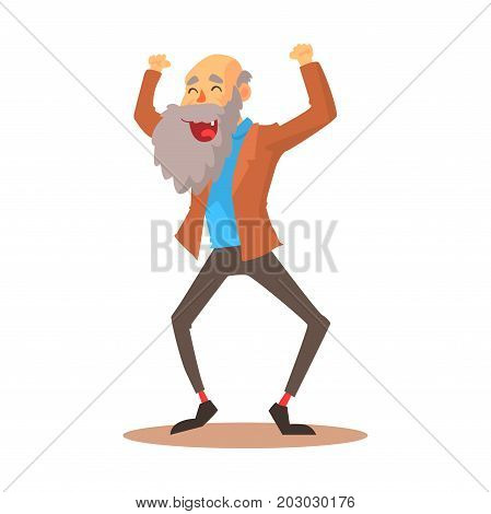 Happy laughing old man standing with raised arms colorful cartoon detailed vector Illustration on a white background