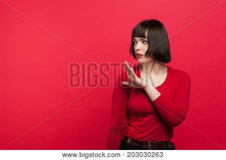 Distrustful girl. Woman tired of lies. Disappointed young female, disrespect in relationship, cynicism concept