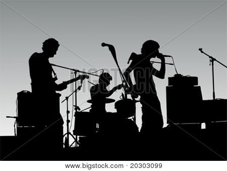 Vector drawing musical group in concert on stage