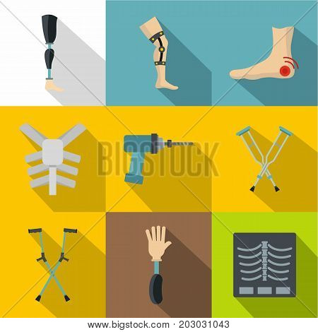 Traumatology and orthopedic icon set. Flat style set of 9 traumatology and orthopedic vector icons for web design