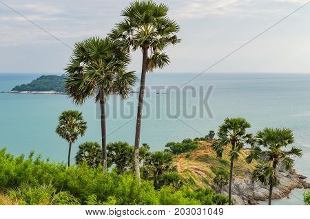 Phromthep Cape Viewpoint With Sunset Sky In Phuket, Thailand