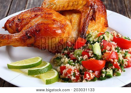 Half Of Appetizing Grilled Juicy Chicken