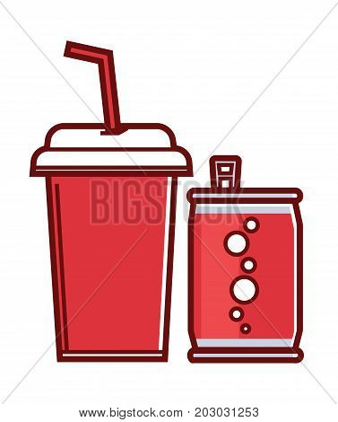 Sweet soda in can with bubbles and paper cup with thin straw and cover to take away isolated cartoon flat vector illustration on white background. Fastfood drinks with high calories contain.