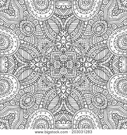 Background with outline black and white concentric pattern