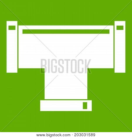 T pipe connection icon white isolated on green background. Vector illustration